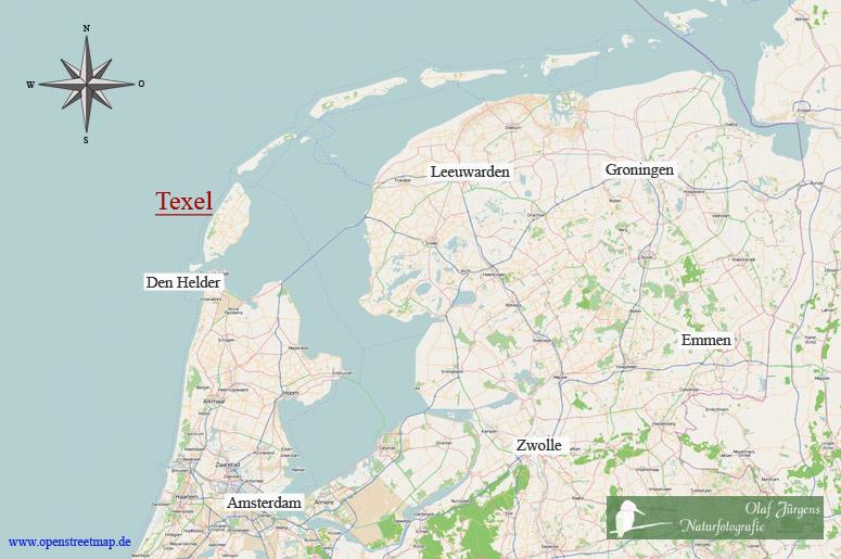 Karte Texel.Naturfotografie Olaf Jürgens Vogelinsel Texel